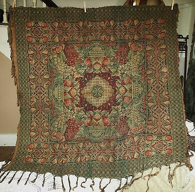 """Vintage ARTS & CRAFTS French Tapestry Tablecloth Throw Fringe Fruits 57""""X57"""" VGC"""