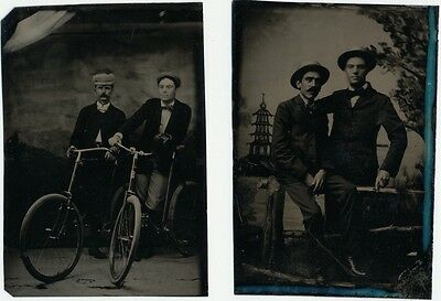 BESTIES! 2 Tintypes of duo on BICYCLES posing. Matching Hats. FUN!
