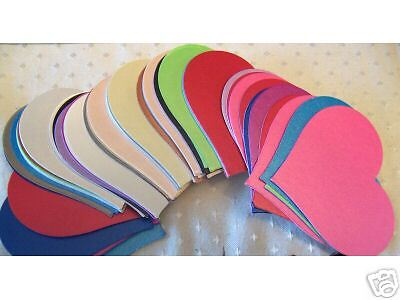 50 Asst Pearlised Heart Shaped Card Cut -Outs 70mm x 62mm For Crafts NEW