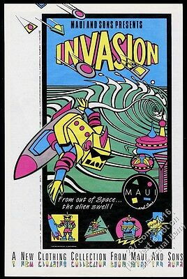 1986 surfing robot surfer art Maui And Sons fashion vintage print ad