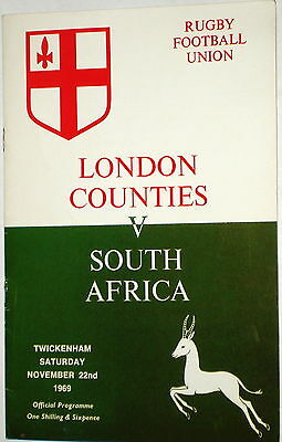 London Counties South Africa Rugby Union Programme 1969
