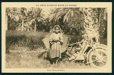 Motorcycle Peugeot in Tunisia Gabes Oasis original old 1930s postcard France