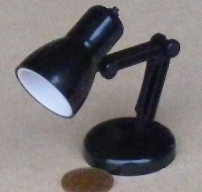 1:12 Scale Moving Black Plastic Working LED Desk Lamp Dolls House Miniature