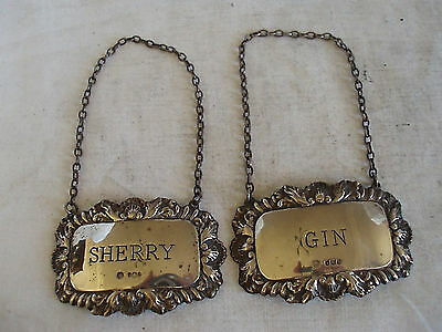 Gin & Sherry Decanter Label Sterling Silver Sheffield 1978/79