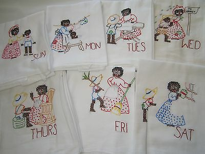 HAND EMBROIDERED 7-DAY WEEK BLACK AMERICANA FLOUR Feed SACK DISH TOWELS MAMMY