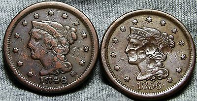 1848 and 1856 Braided Hair Large Cent Lot ---- Damaged ---- #D604