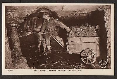 REAL PHOTO POSTCARD PENTRE COAL MINE MINING COLLIER DONKEY GLAMORGAN WALES c1910