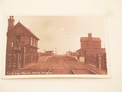 Rare Antique  Real Photo Postcard Of Railway Station Finningley Yorkshire 1922.
