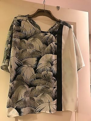 TOPSHOP BLACK WHITE TOP Blouse 8 10 12 SHORT BATWING SLEEVED SHEER NEW TAGS