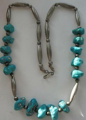 Vintage Old Dead Pawn Navajo Sterling Silver Turquoise Bench Beads Necklace