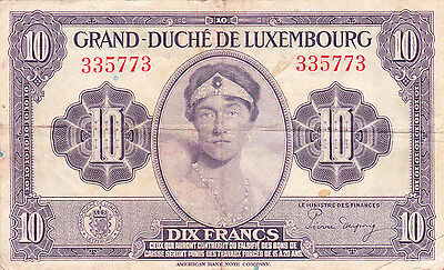 10 Francs Vf Banknote From 1944 Luxembourg!!pick-44!