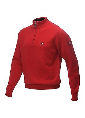 Cutter & Buck Lambswool Zip Tour Golf Sweater Red Large