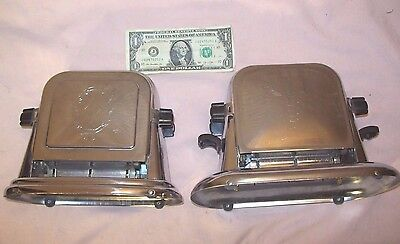 1930's~BERSTED~MCGRAW ELEC. CO.~MODEL 71 & 72~ANTIQUE ART DECO CHROME TOASTERS~