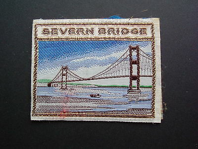 Vintage 1970s SEVERN BRIDGE Embroidered Souvenir Cloth Iron / Stick on Patch