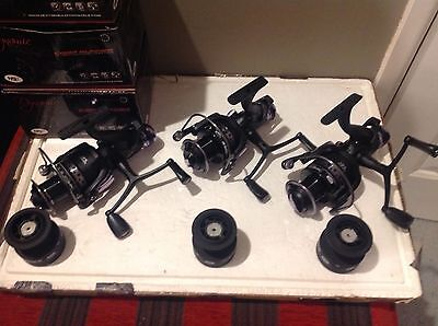 3 x DYNAMIC 6000 CARP DELUXE FISHING FREE RUNNER REELS 10BB WITH SPARE SPOOL