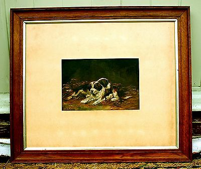 Exquisite Late C19th Victorian Irish School Oil  Portrait of Puppies in a Stable