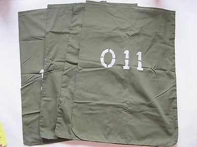 Vintage Laundry Bags Military Green Numbered Lot of 4