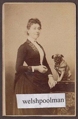 Lovely Antique 1880/90's Lady & Pug Photograph Lewes & Brighton Photograph