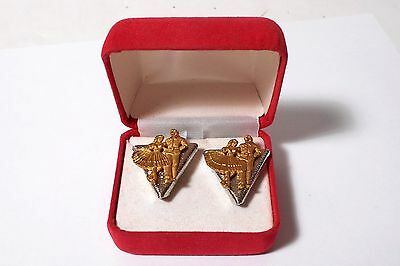 NOS Vintage Pair Country Line Square Dancers Gold/Silver Toned Collar Tips a552