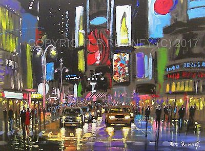 Pete Rumney Fine Art Buy Original Acrylic Painting A Night In Times Square Nyc