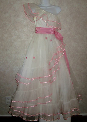 Vintage Flirtations Alfred Angelo White With Pink Trim Prom Dress Size S/m
