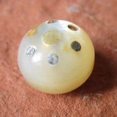 Antique Vintage MOP Pearl Shell Whistle Button with Metal Inserts