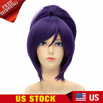 Womens Long Straight Bangs Ponytail Synthetic Cosplay Full Wigs Costume Hair New