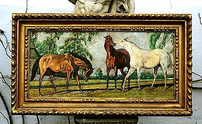 Superb Early C20th English School Equestrian Oil - Thoroughbreds in a Landscape