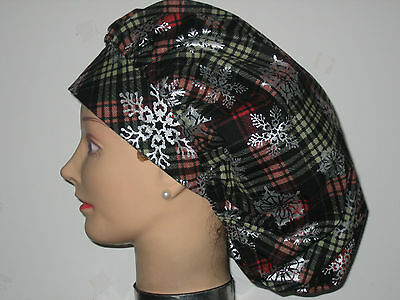 Surgical Scrub Hats/Caps Winter Beautiful Black Plaid with silver Snowflakes