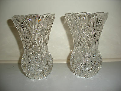 """Lead Crystal Pair Of Vases With Diamond Pattern 5"""" Tall"""