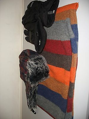 Mens Trapper Hat , Scarf And Thinsulate Gloves