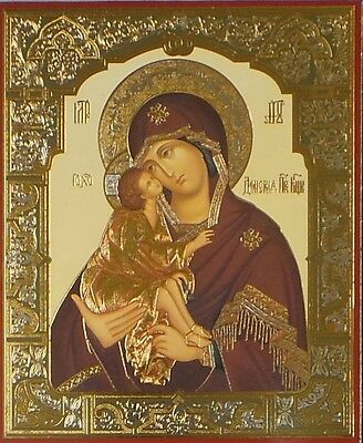 Religious Donskaya Mary  Russian Icon Plaque Gold Silver Foil Mother of Don
