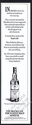 1994 The Macallan Scotch Whisky classic bottle art vintage print ad
