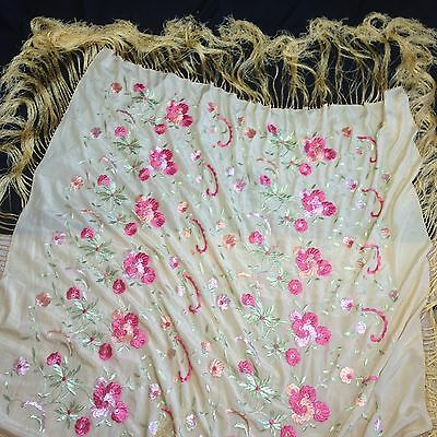 Antique 1900s Piano Shawl scarf SILK yellow floral embroidered fringe Square VTG