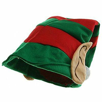 Elf Hat With Ears Green And Red Santa Christmas Helper Costume Party