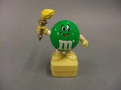 """M&Ms 3"""" Green Figure with Olympic Torch - 1991 Mars Chocolate Sweet"""