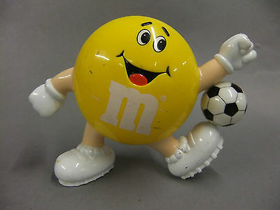 """M&Ms 6"""" YELLOW CANDY CONTAINER with Football 1991 Mars Chocolate Sweets"""