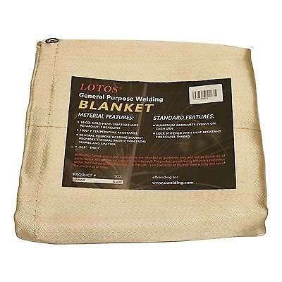 Welding Blanket 6' x 8' Fiberglass Heat Treated Gold with Grommets Resists 1000F