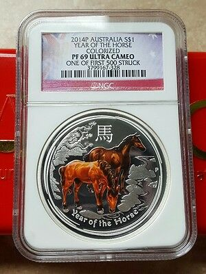 2014 NGC PF69 1oz .999 Australian Silver Proof Coin Colored Horse - 1 of 1st 500