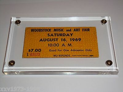 Woodstock 1969 Authentic Advance $7 Saturday Ticket Lucite Case Janis Joplin Usa