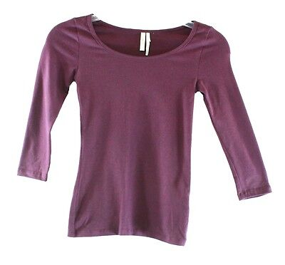 Frenchi NEW Solid Purple Burgundy Girl's XS Long-Sleeve Tee T-Shirt DEAL #817