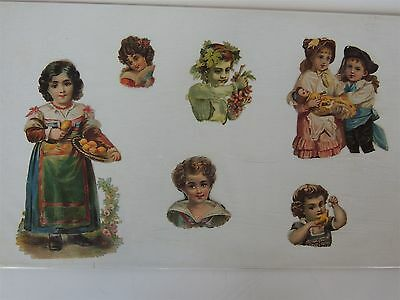 6 Antique Diecut lot mounted Victorian girls toys embossed children babies