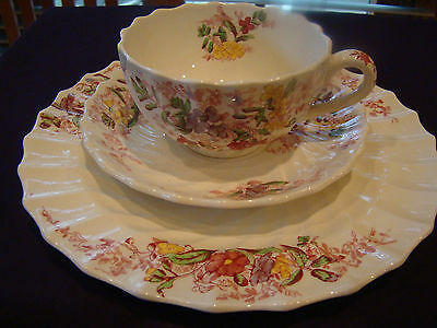 Copeland Spode England Fairy Dell Cup /saucer And Luncheon Plate 3 Pc Set