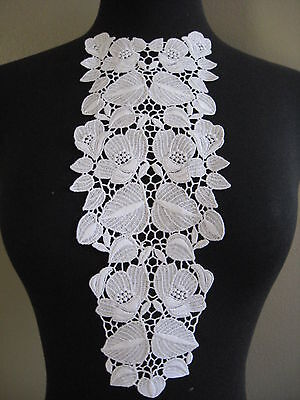 4 Pcs Gorgeous White Bridal Rayon Venise Front Applique