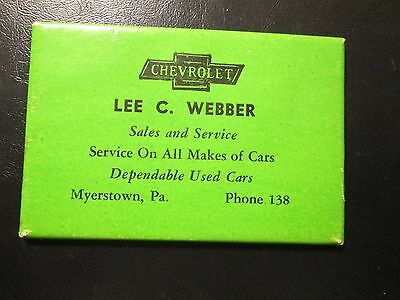 Myerstown,pa.lee C.weber Chevrolet Pocket Mirror Phone 138,used Cars