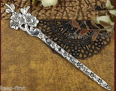 Delicate Vintage Exotic Bronze Plating Miao Silver flowers Hair Sticks Hairpin