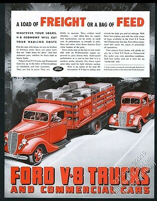 1937 Ford pickup red truck V8 stakebed illustrated vintage print ad