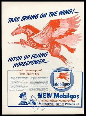 1946 Pegasus red flying horse art Mobil oil Spring on the Wing vintage print ad