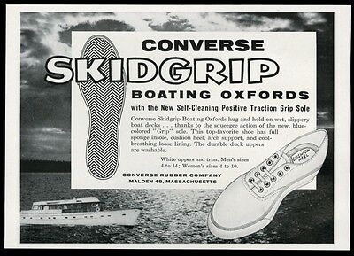 1960 Converse Skidgrip boating boat deck shoes vintage print ad