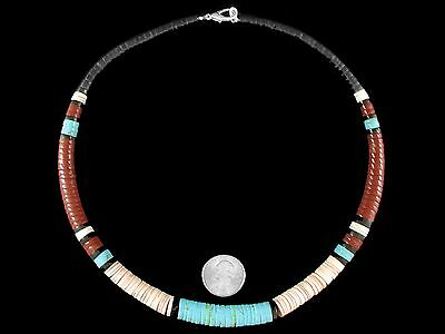 "Mens Santo Domingo Necklace Jasper Turquoise Shell 21½"" Native American Womens"